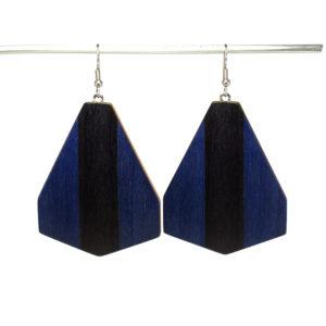 Boucles d'Oreilles en Bois Bleu & Noir