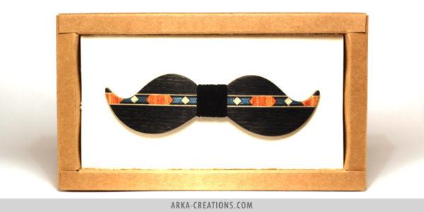 Nœud Papillon Moustache Marqueterie