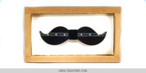 Nœud Papillon Moustache Noir et Bleu