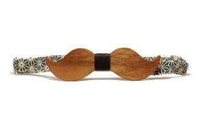 Nœud Papillon Moustache en Noyer