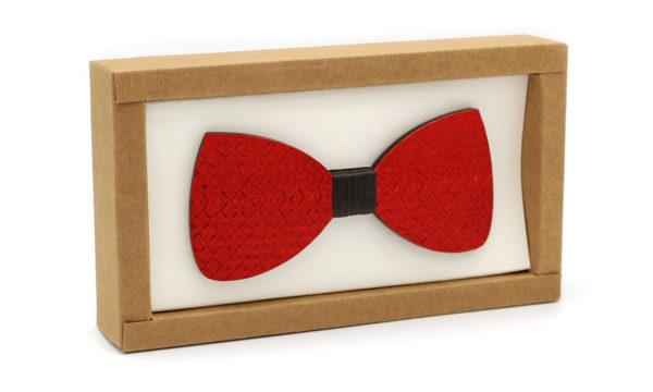 Nœud Papillon en bois & cuir rouge